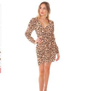 ASTR the label wrap dress in leopard